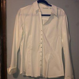 WHITE BUTTON UP DRESS SHIRT W/ RHINESTONE BUTTONS